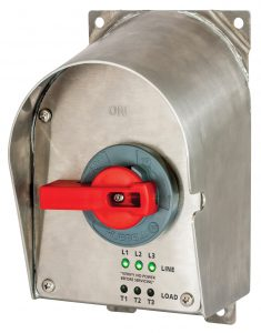 Hubbell's stainless steel sloped top disconnect.