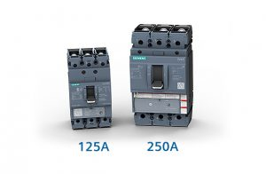 Siemens 3VA5 circuit breakers are available in 125 A and 250 A