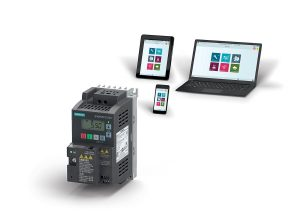 The SINAMICS V20 Smart Access webserver module option is mounted on the converter. It allows wireless commissioning and operation via smartphone, tablet, or laptop.