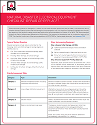 NFPA Natural Disaster Electrical Equipment Checklist
